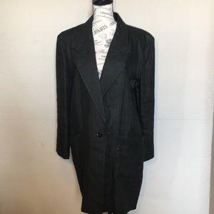 Larry Levine knee length linen blazer in black Lrg